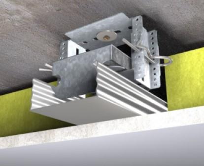 ontkoppeld geluidsisolerend plafond met één laag metalstud